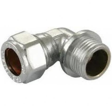 "22mm x 3/4"" compression chrome elbow adaptor male fitting (Bag of 10=£44.10)"